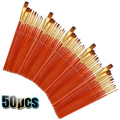 50 Pcs Nylon Peinture Cheveux Pinceaux Artiste Paintbrush Lot Multiples Mediums Brosses Pour L'Huile Aquarelle Gouache Peinture Fournitures Grand Art Dessin Rouge Porte-Plume, Rouge