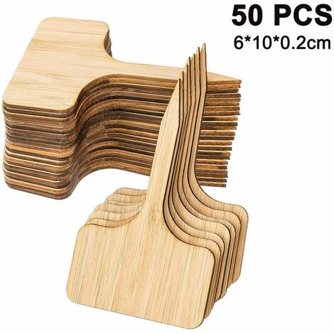 50 pcs plant signs bamboo, T-shape plant plug labeling stick-in labels for nurseries plant growing ornamental plants potted herbs flowers vegetables