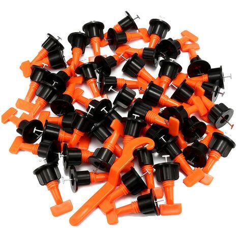 50 PCS Teja Sistema de nivelacion reutilizable del azulejo Nivelador espaciadores y 1PC Llaves Construccion Herramientas para la pared De suelo Ajuste de bano Azulejos