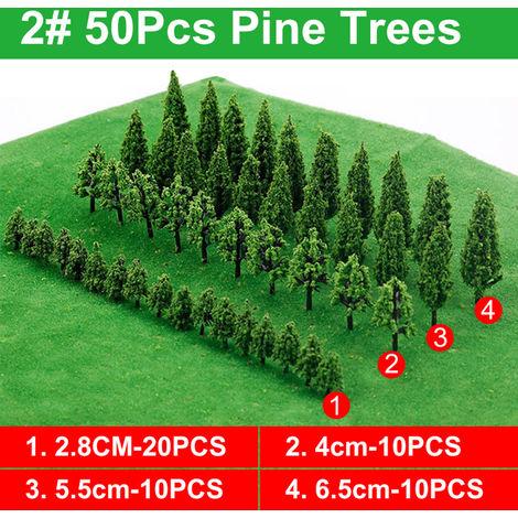 50 piezas árboles modelo tren ferrocarril ferrocarril Wargame Diorama paisaje paisaje C Hasaki