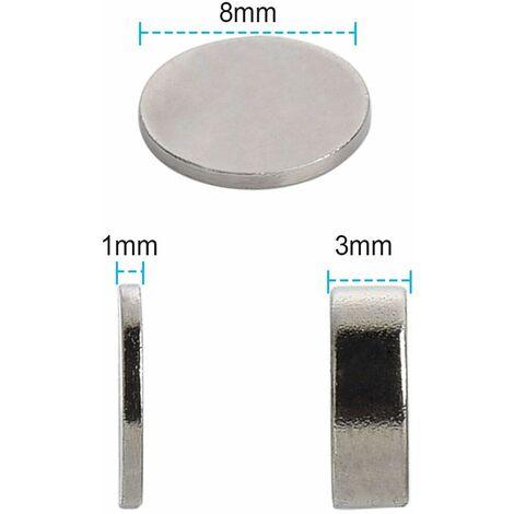 50 Solides pièce d'aimant de néodyme N42 8 x 1 mm disques circulaires Super-aimants