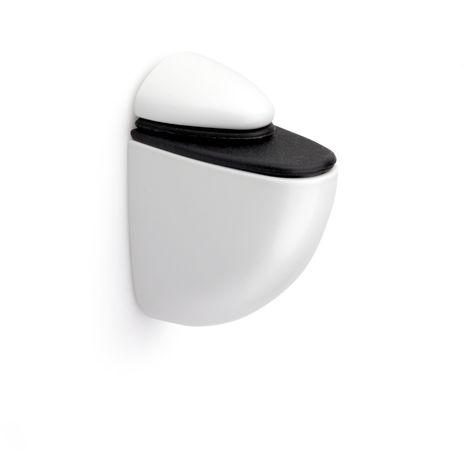 50 Soporte pelícano regulable para baldas de cristal y madera, de tamaño pequeño PELICANO M: con estilo juvenil, fabricado en zamak y acabado en blanco