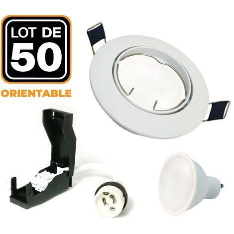 50 Spots encastrable orientable BLANC avec GU10 LED de 7W eqv. 56W Blanc Neutre 4500K