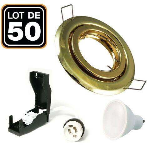 50 Spots encastrable orientable DORÉE avec GU10 LED de 5W eqv. 40W Blanc Neutre 4500K