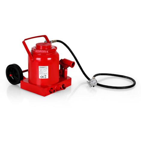 50 T Gato botella (neumático, hidráulico, 405 mm Altura de elevación, Altura mínima 255 mm, Válvula de seguridad)