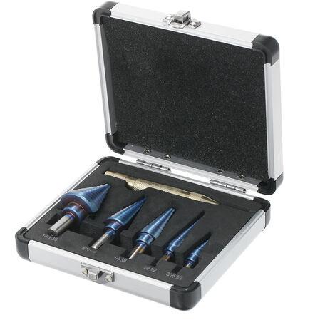 50 Tamanos HSS Taladro Bit Paso conjunto con el Centro de Automatica Punch y caja de aluminio de titanio multiple agujero recto acanalado broca escalonada para chapa de madera plastico (5pcs)