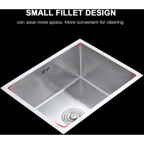 50 x 43 x 18.5 cm Single Bowel Stainless Steel Kitchen Sink Square Strainer Waste