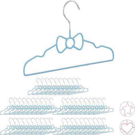 50 x Children's Coat Hangers Bow, Compart Wire Holders, PVC-Coating, 30 cm, Blue