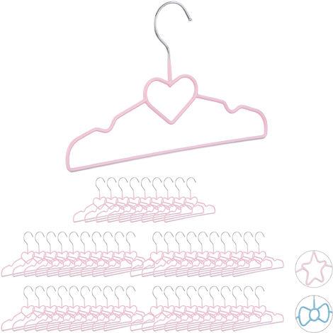 50 x Children's Coat Hangers Heart, Compart Wire Holders, PVC-Coating, 30 cm, Pink
