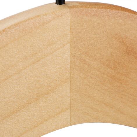 50 x Kleiderbügel Holz, beflockte & eingekerbte Bügel mit Antirutsch Effekt, edles Design, 46 cm, Bügel Set, natur