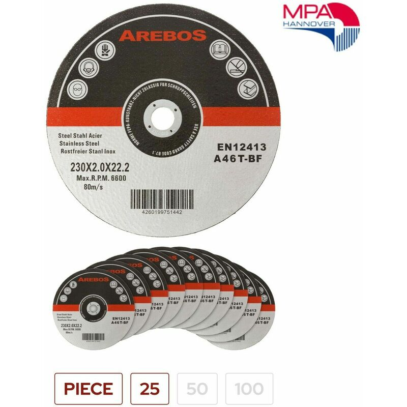 Image of 25 METAL CUTTING DISC 230x 2x 22 MM STAINLESS STEEL CUTTING DISCS ANGLE GRINDER