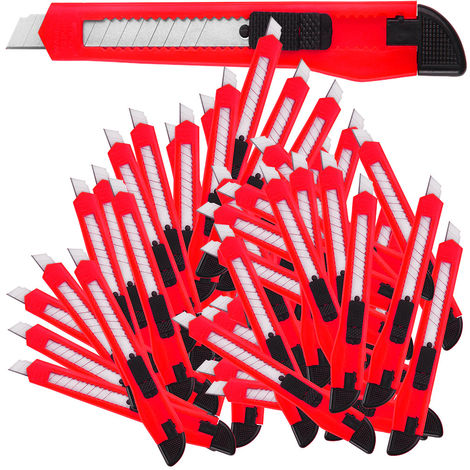 50 x Retractable Snap Off Knives Cutter 9 mm Blades Value Box