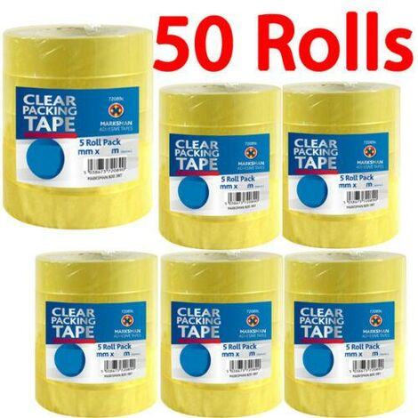 """main image of """"50 X ROLLS CLEAR PACKING TAPE STATIONARY 24MM X 30M PARCEL SELLOTAPE DISPENSER"""""""