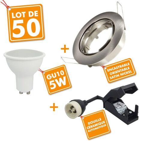 50 x Spot encastrable orientable Acier Brossé complet LED 5W eq 40W