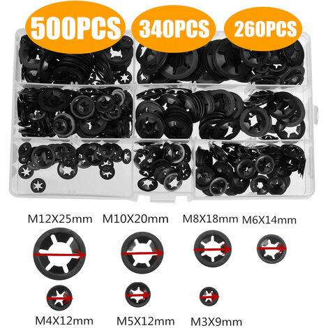 500/340PCS M3-M12 Starlock Washers Push On Locking Washer Lock Star Nut Fastener Clips Lock Fastener Assortment Kit