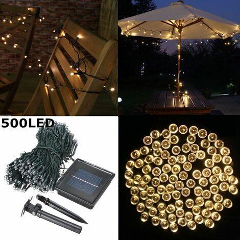 500 LED Solar Power String Light Festival Decor Outdoor Garden Christmas Party Waterproof (White) (White, 50M 500LED)