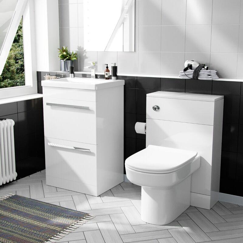 Neshome - 500 mm Basin 2 Drawer Vanity Cabinet & WC Toilet Pan Bathroom Suite White
