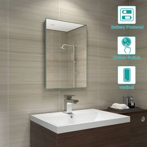 500 x 700 mm Bathroom Battery Powered Illuminated LED Mirror