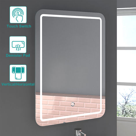 500 x 700mm Bathroom Illuminated LED Mirror with Demister Pad(Type D)