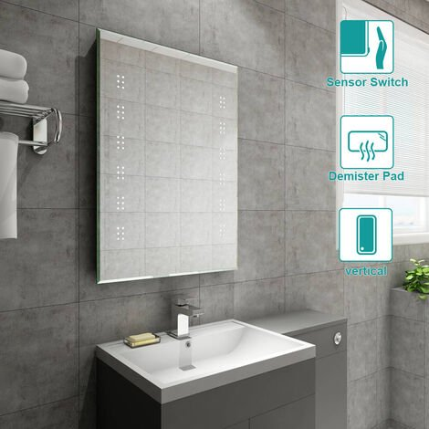 500 x 700mm Bathroom Illuminated LED Mirror with Demister(Type B)