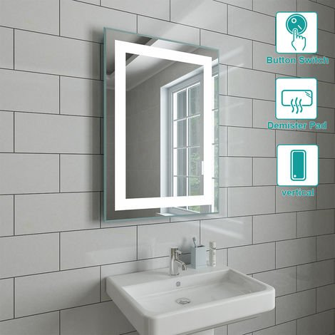 500 x 700mm Bathroom Illuminated LED Mirror with Demister(Type C)