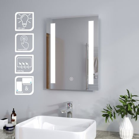 500 x 700mm ELEGANT Wall Mounted Bathroom Mirror Illuminated LED Frontlit with Lights Sensor Touch control with Demister Pad