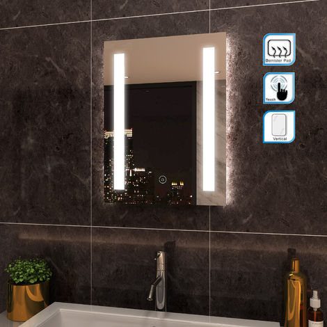 500 x 700mm ELEGANT Wall Mounted Illuminated LED Bathroom Mirror Frontlit with Lights Sensor Touch control with Demister Pad