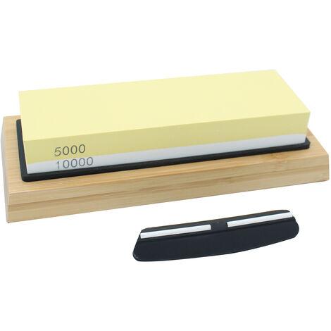 5000/10000 Grit corindon blanco de doble cara piedra de afilar con bambu Base Guia de Angel como cortador afilado