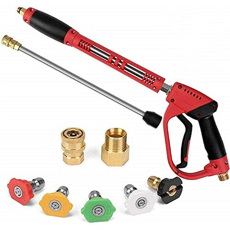 """main image of """"5000 PSI High Pressure Washer Gun, with Replacement Extension Wand, 5 Nozzle Tips Set, Power Washer Gun with 1/4'' Quick-Connect M22 15mm or M22 14mm Fitting, 40 Inch"""""""