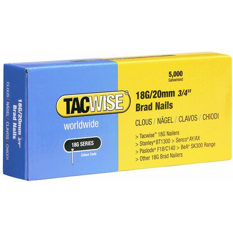5000 Tacwise 18 Gauge 20mm Brad Nails Galvanised for Nail Guns 18G - 0395