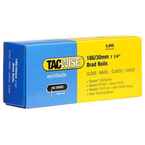 5000 Tacwise 18 Guage 30mm Brad Nails Galvanised for Nail Guns 18G - 0397