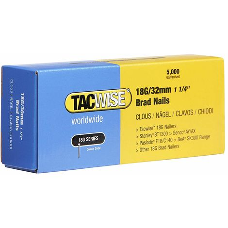 5000 Tacwise 18 Guage 32mm Brad Nails Galvanised for Nail Guns 18G - 0398