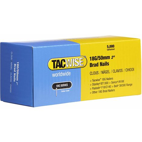 5000 Tacwise 18 Guage 50mm Brad Nails Galvanised for Nail Guns 18G - 0401