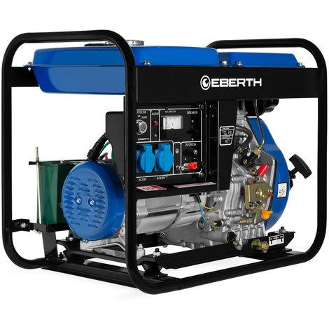 5000 Watt Générateur diesel (Démarrage électrique, Moteur diesel 10 CV, 4 temps, Monophasé, 2x 230V, 1x 12V, voltmètre)