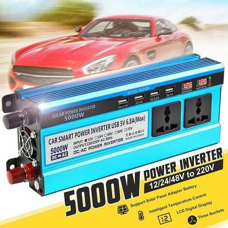 5000w 12v à 220V Double Plug Car Solor Power Interver Changer Adaptateur 5000W12V 5000W12V