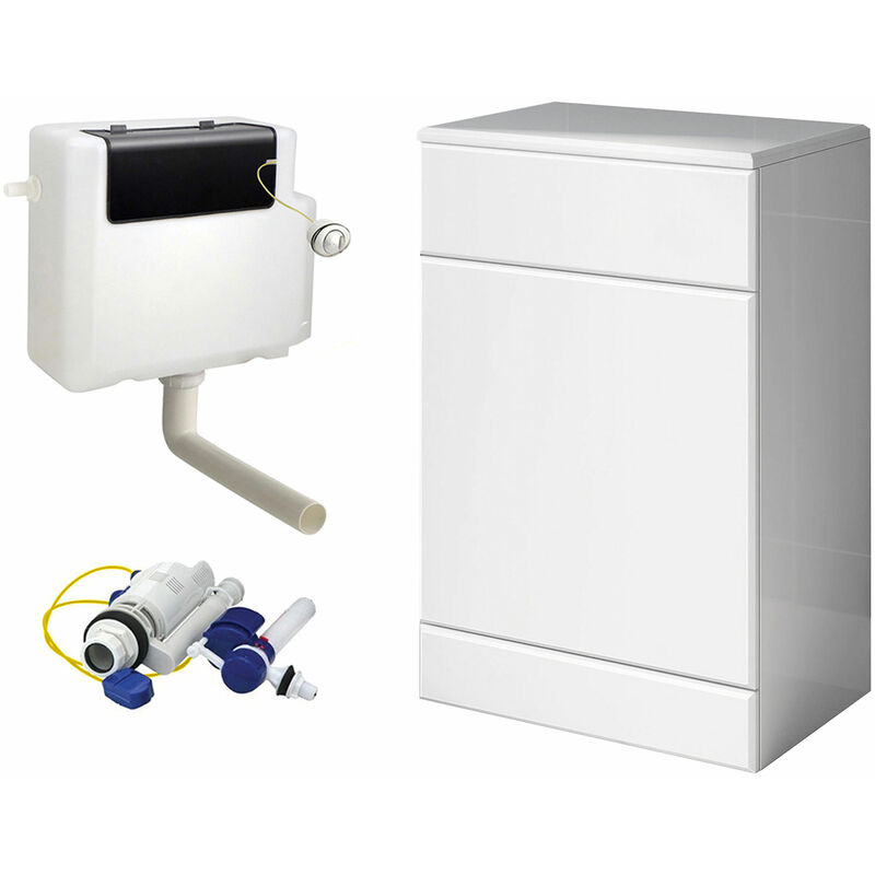 Neshome - 500MM BACK TO WALL WHITE GLOSS TOILET CISTERN UNIT & CISTERN