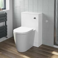 500mm Bathroom Toilet Back To Wall BTW Furniture Unit Pan Soft Close Seat White