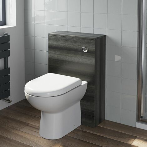 Bathroom Toilet Back To Wall Unit Pan Soft Close Seat Charcoal Grey