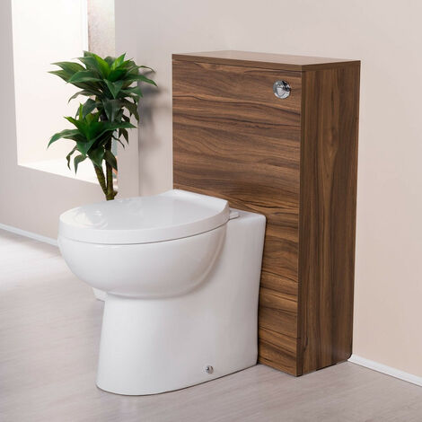 500mm Bathroom Toilet Back to Wall Furniture Unit Pan Soft Close Seat Walnut