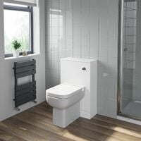500mm Bathroom Toilet Back To Wall Furniture Unit Pan Soft Close White Modern