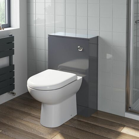 """main image of """"500mm Bathroom Toilet Back To Wall Unit Pan Soft Close Seat Grey"""""""
