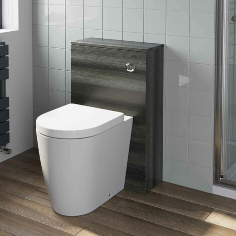 500mm Bathroom Toilet BTW Back To Wall Furniture Unit Pan Soft Close Grey Modern