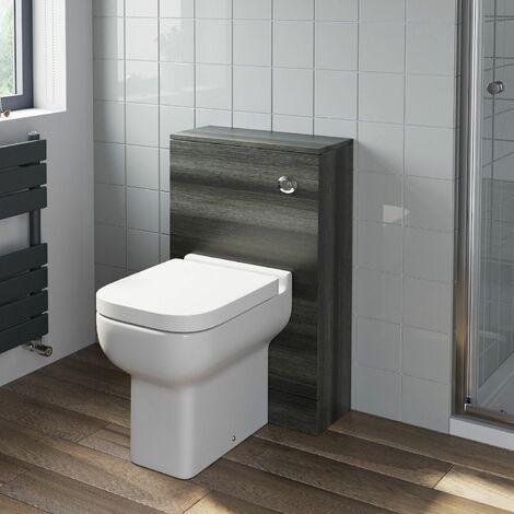 500mm Bathroom Toilet BTW Furniture Unit Pan Soft Close Charcoal Grey Modern