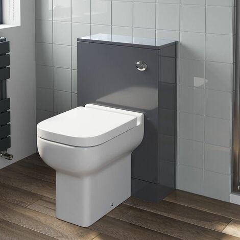 500mm Bathroom Toilet BTW Furniture Unit Pan Soft Close Seat Gloss Grey Modern