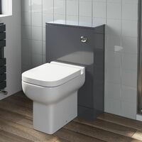 500mm Bathroom Toilet BTW Furniture Unit Pan Soft Close Seat Gloss Grey Modern