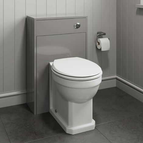 500mm Bathroom Toilet BTW Unit Pan Back To Wall WC Grey Traditional