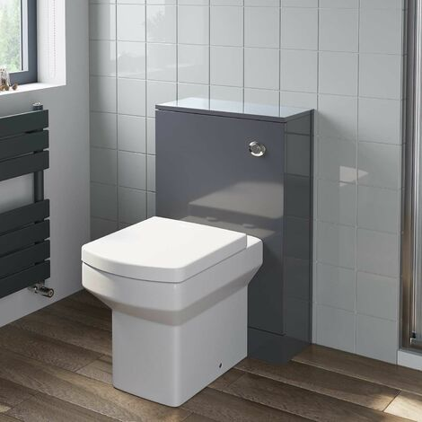 500mm Bathroom Toilet BTW Unit Square Soft Close Seat Gloss Grey