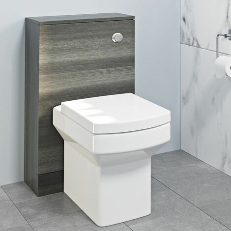 500mm Bathroom Toilet Concealed Cistern Pan Soft Close Modern Charcoal