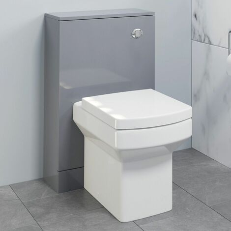 500mm Bathroom Toilet Concealed Cistern Unit Pan Soft Close Grey