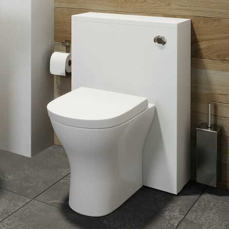 500mm Bathroom Toilet Concealed Cistern White Gloss Dual Flush Soft Close Seat